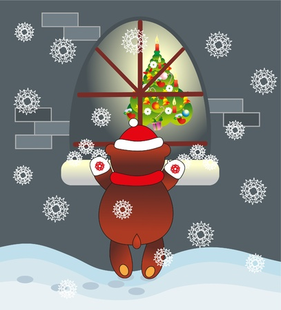 bear and tree Vector