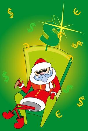 rich santa smokes cigar Vector
