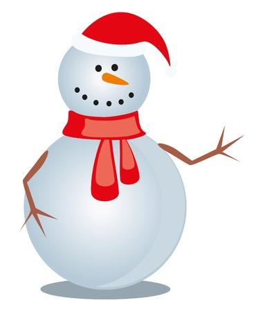 christmas snowman on white Vector