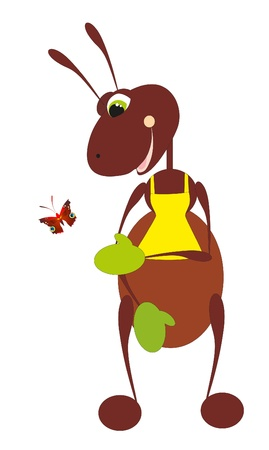 flea: ant and butterfly Illustration