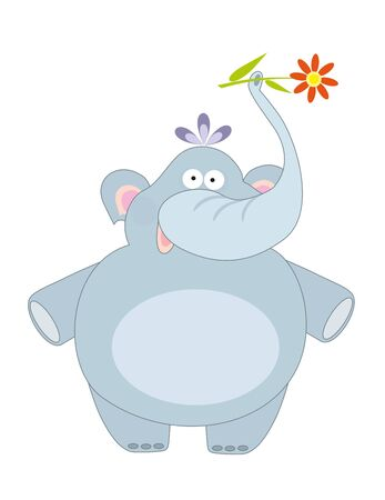 big blue elephant and flower Vector