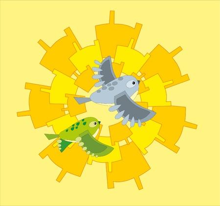 tomtit: bird background Illustration