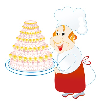 lucky cook keeps plate with cake Vector