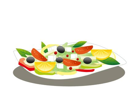spinach salad: salad on white plate