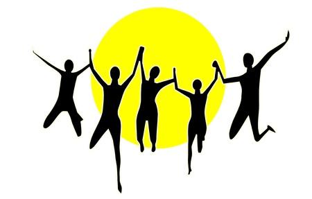 people jump on background sun Stock Vector - 8342168