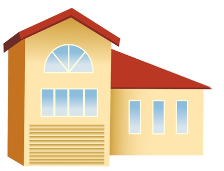 shapes cartoon: casa grande con techo rojo