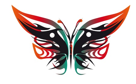 color tattoo - butterfly on a white background Vector