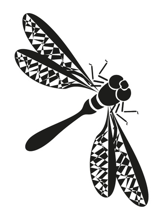 abstract tattoo -  insect dragonfly on white background Illustration