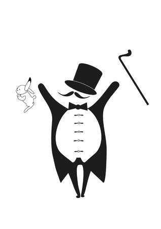 magician with rabbit and walking stick