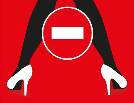 feminine leg and sign warning Vector