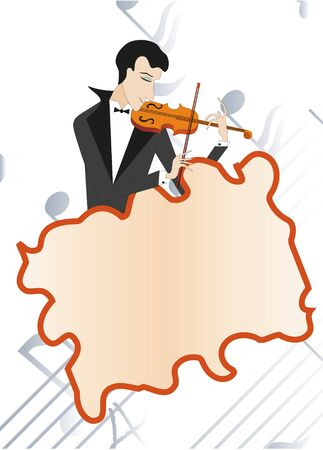 Fiddler plays on violin. Note background. Stock Vector - 8342522
