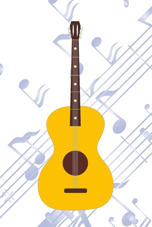 The Music instrument. The Acoustic guitar.  Note background. Vector