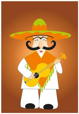 lucky mexican plays on guitar Vector