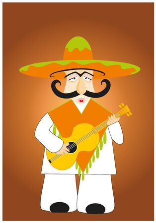 white moustache: lucky mexican plays on guitar Illustration