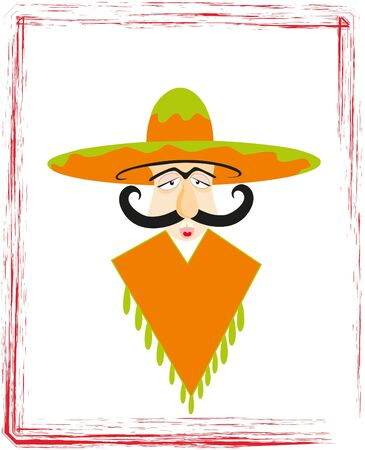The Portrait adult mexican. The Big hat and moustache. Vector