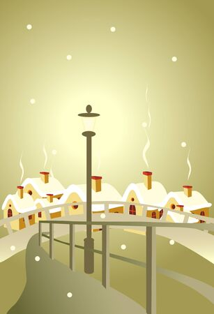 torch on background of the city Stock Vector - 8342339