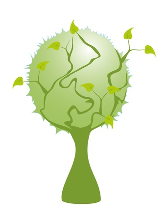 Green branch tree save planet Vector