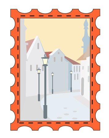 postage stamps - snow town Stock Vector - 8342156