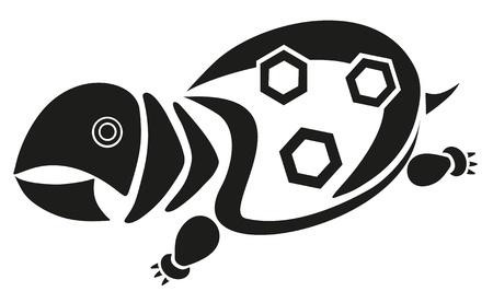 terrapin: vector tattoo - black terrapin Illustration
