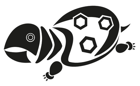 terrapin: Vector terrapin tatuaggio - nero