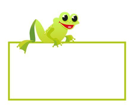 vertebrate: frog take banner on white background