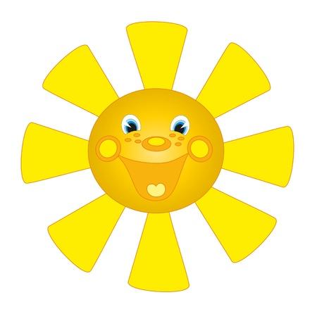 smiling sun: big yellow sun. Human face.