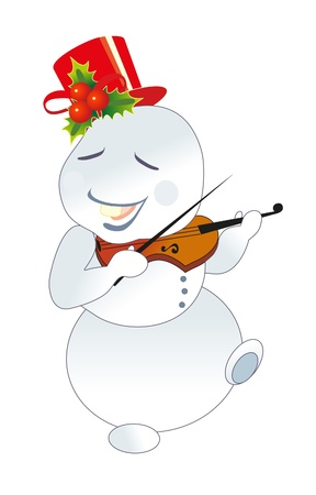 snowman and violin Vector