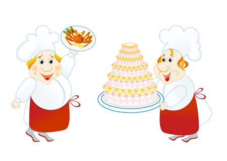 two lucky cooks with cake and crab Vector