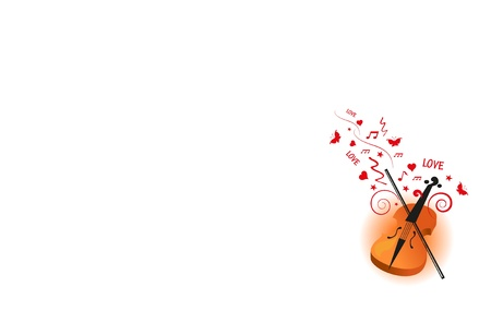 violin love background Ilustrace