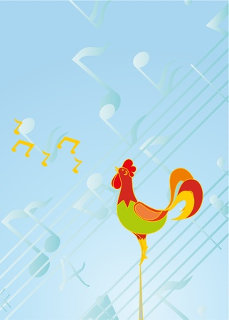 colour cock on background of the notes Vector