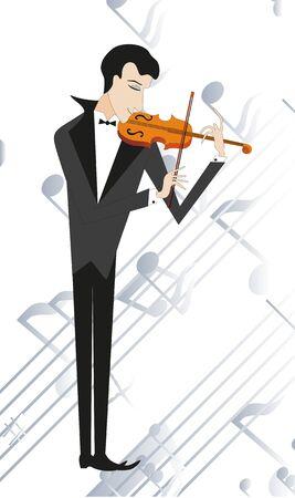 Fiddler plays on violin. Note background. Vector