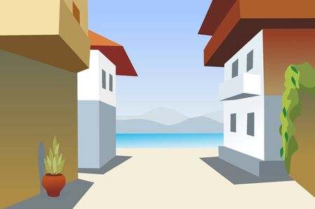 town and sea background Vector