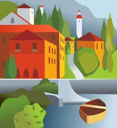 color town and boat Vector
