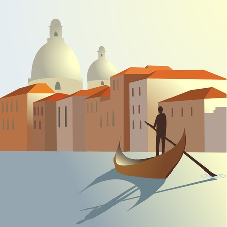 landscape architecture: man and boat on town background