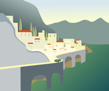 Town between hill. Small car Vector