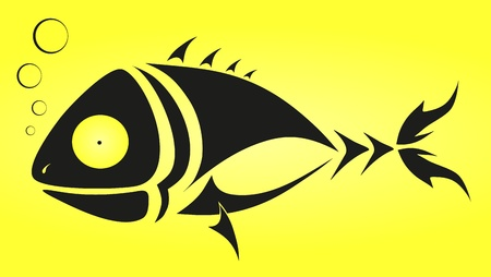 tattoo - black fish on yellow background Vector