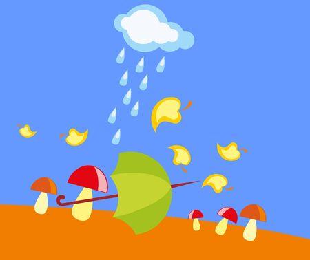 baby drawing - a rainy autumn, mushrooms and umbrella Stock Vector - 8377164