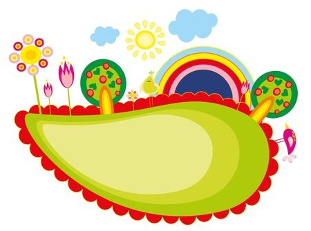 �rboles con pajaros: Baby dibujo - un �rbol, aves y arco iris Vectores