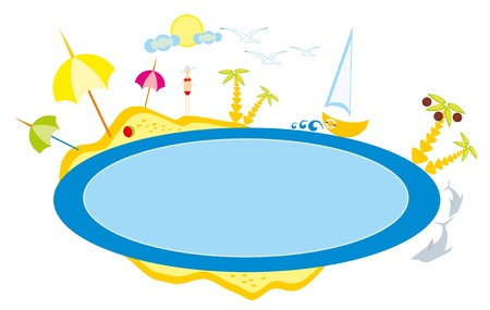 baby drawing - a beach and sea, sun and sky Vector