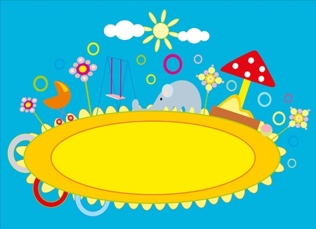 baby drawing - a nursery playground Stock Vector - 8377175