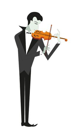 fiddler plays on violin on white background Stock Vector - 8377169