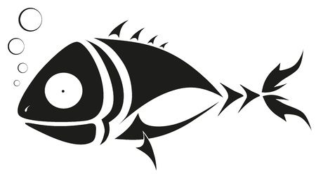 tattoo - black fish Vector