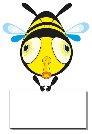 Bee and banner. Illustration. Vector
