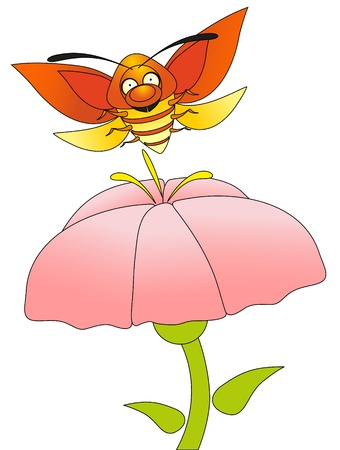 cartoon insect - color bug and flower Vector
