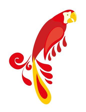 color parrot on white background Illustration