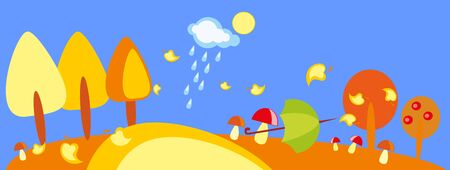 baby drawing - a wood with mushroom, umbrella and rain Vector