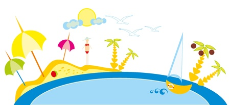 baby drawing - a beach and sea, sun and sky Stock Vector - 8420712