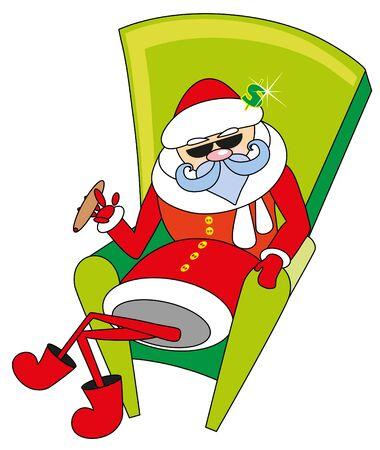 santa claus sits and smokes cigar Vector