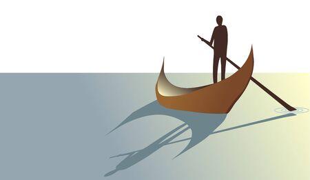 oar: persons with oar in boat Illustration