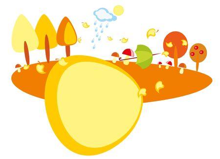 baby drawing - a wood with mushroom, umbrella and rain Stock Vector - 8420803